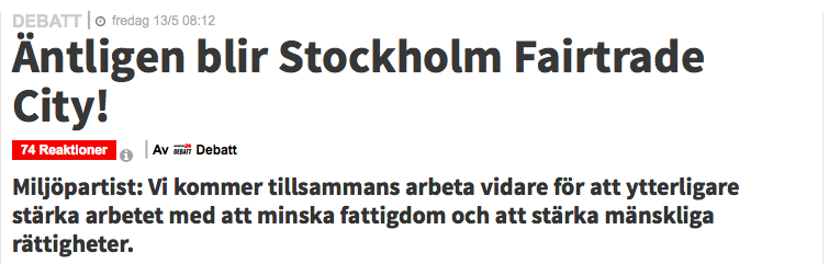 Stockholm fairtrade city